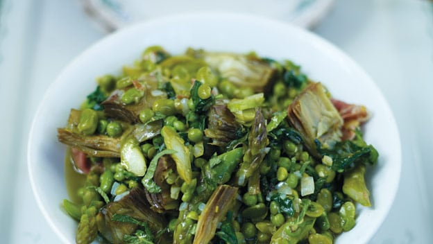 Italian vegetable stew with broad beans, peas & artichokes